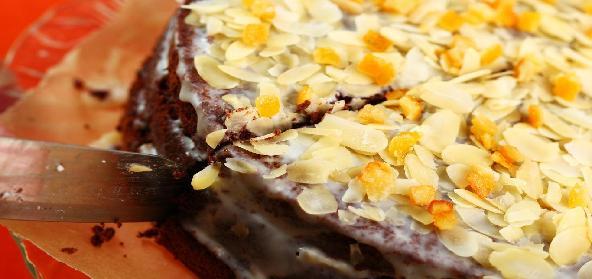 Chocolate Cake With Almond Slivers